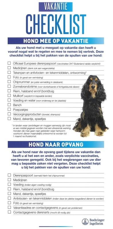 Vakantie checklist hond