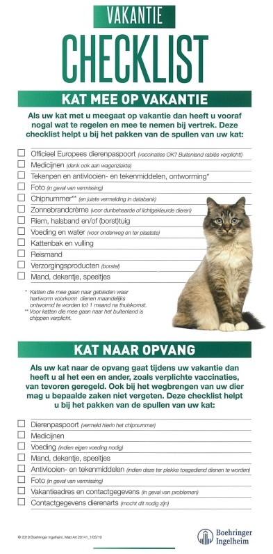 Vakantie checklist kat